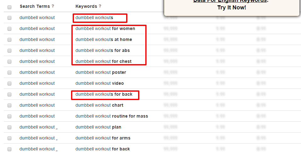 Search for dumbbell workout found 365 unique keywords