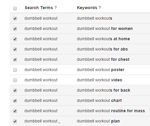 Select keywords for  dumbbell workout  found 365 unique keywords