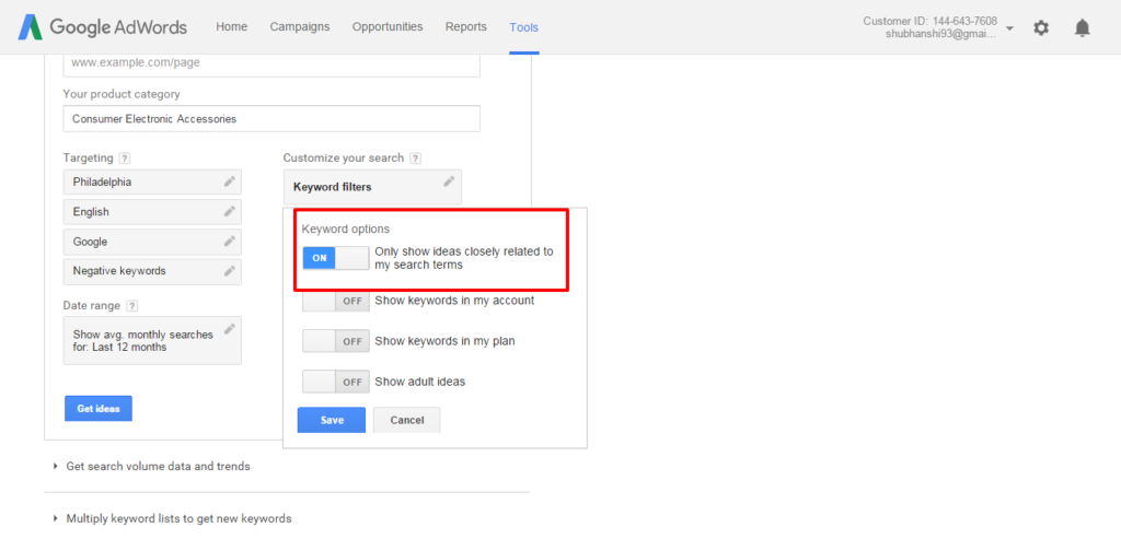 Show Exact match keywords in Google Adwords Keyword Planner